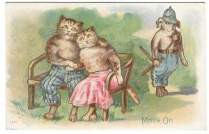 Dressed Cat Couple Romance Park Bench Dog Police Officer