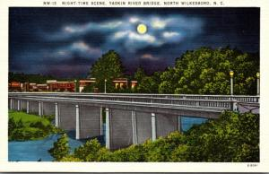 North Carolina North Wilkesboro Yadkin River Bridge At Night
