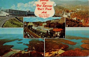 Arkansas Greetings From Hot Springs Showing Oaklawn Race Course Bath House Ro...