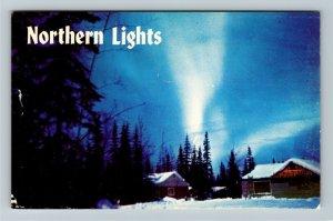 Fairbanks AK-Alaska, The Northern Lights Aurora Scenic View, Chrome Postcard