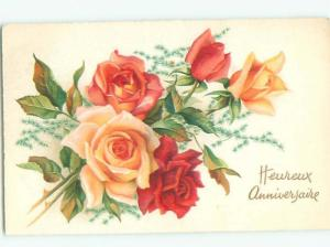 Very Old Foreign Postcard BEAUTIFUL FLOWERS SCENE AA4378