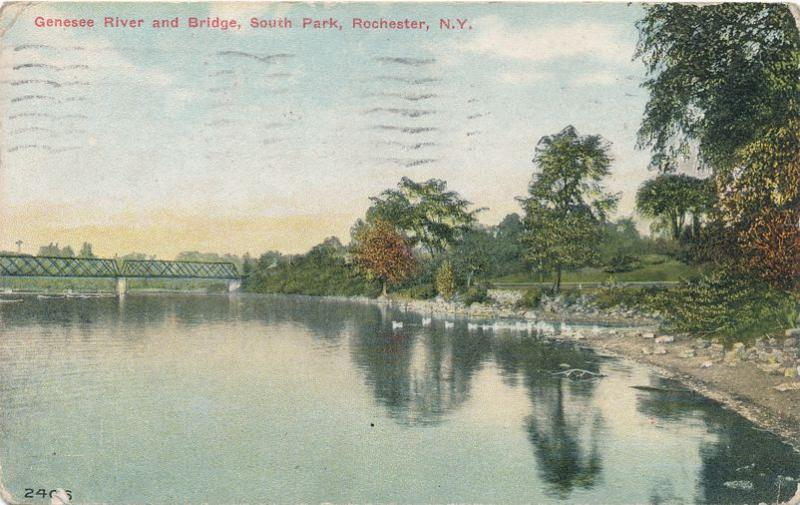 Bridge on Genesee River at South Park (Genesee Valley Park) Rochester NY pm 1911