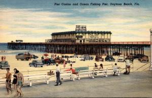 Florida Daytona Beach View Of Pier Casino and Ocean Fishing Pier Curteich