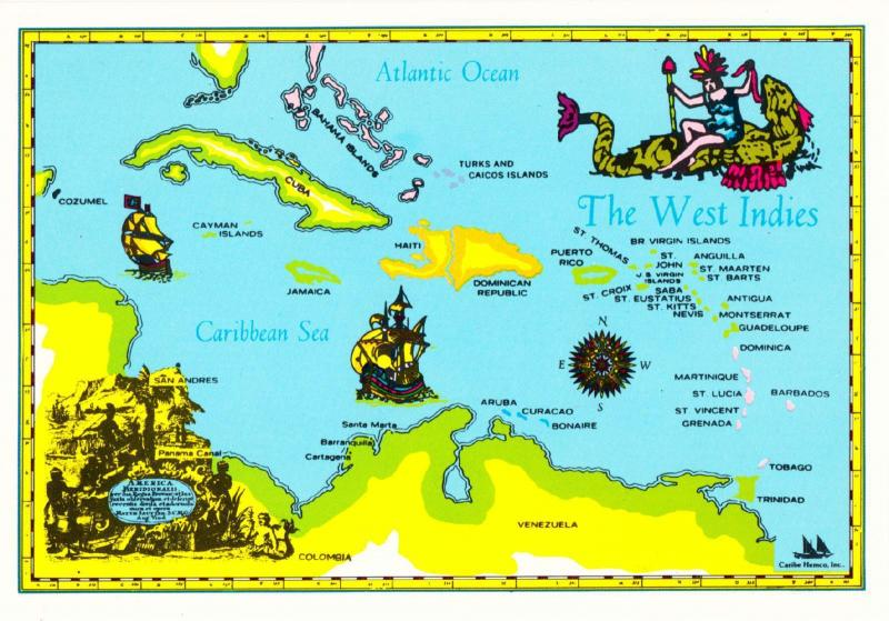 Postcard of Caribbean West Indies Map with Sea Monster 1980s