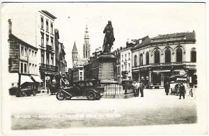 Verviers Belgium Monument Old Cars Storefronts Real Photo RPPC Postcard