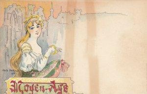 Jacques dit Jack ABEILLÉ : Art Nouveau Female Head Portrait , 1898 , #6/6