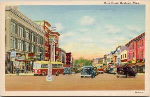 Main Street Danbury CT Conn Unused Vintage Linen Postcard E42