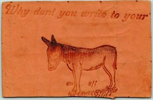 Vintage 1907 LEATHER Greetings Postcard Why Don't You Write to Your (Jackass)?