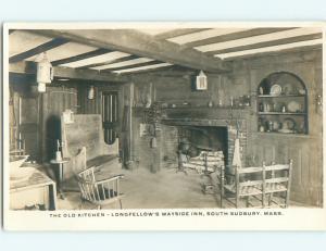 Pre-1949 rppc LONGFELLOW'S WAYSIDE INN - KITCHEN South Sudbury MA v5035