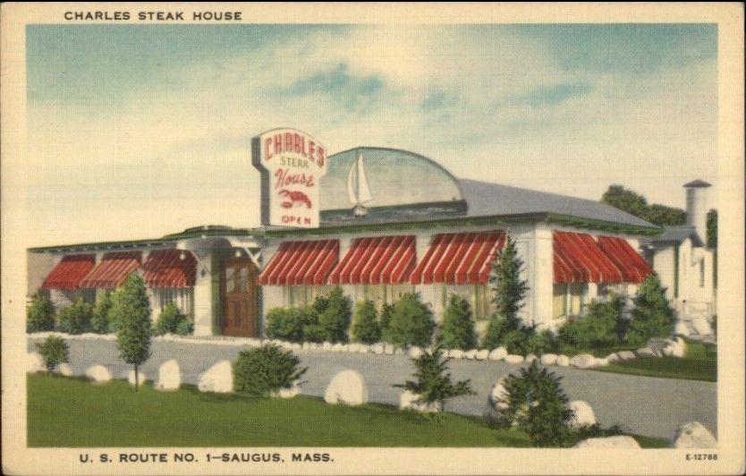 Saugus MA Charles Steak House Route 1 LINEN Postcard