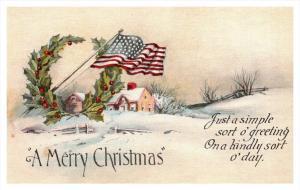 8095   Christmas  Home in Winter, American flag, poem