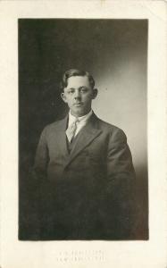 New Glarus WI E D Frautsony Real Photo Postcard: Man w/Pinstriped Suit~Tie Clasp