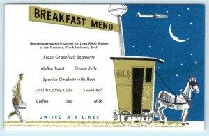 UNITED AIR LINES Airlines BREAKFAST MENU Milk Wagon Chef Frank Hurliman Postcard