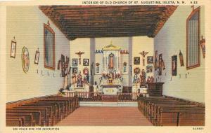 Isleta New Mexico~Alley Between Short Pews @ St Augustine Church~1935 Postcard