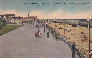 Florida Daytona Beach Boardwalk Band Shell And Clock Tower  1949