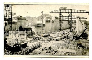 Panama - Canal Zone. Construction of Pedro Miguel Twin Locks