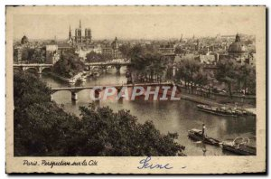 Old Postcard Paris Perspective Cite boat Peniche