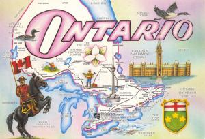 Ontario Canada Map Postcard, Greetings from Salutations de Ontario 97D
