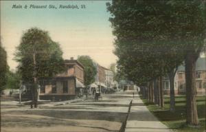 Randolph VT Main & Pleasant Sts. c1910 Postcard