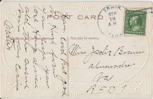 ERWIN TN - 4 BAR POSTAL CANCEL on view of boats at harbor - 1910s