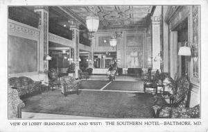 Baltimore Maryland Southern Hotel Lobby Interior Antique Postcard K56850
