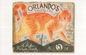 Orlando's Evening Out Kathleen Hale Puffin Cat Book Postcard