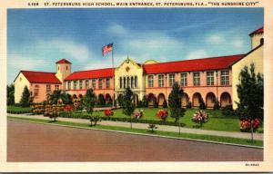 Florida St Petersburg High School Main Entrance 1942 Curteich