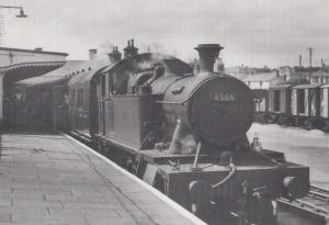 St Ives Train Engine 4566 at St Erth Station in 1960 Railway Postcard