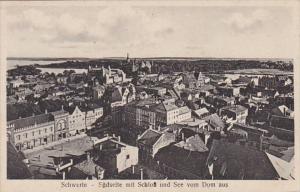 Germany Schwerin Suedseite mit Schloss und See vom Dom aus