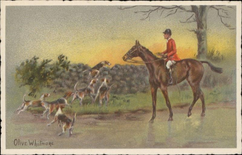 Hot on the Scent Olive Whitmore dogs hunting horse Hund Pferd art