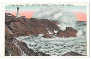 ME Portland Head Light Crashing Surf First US Lighthouse Chisholm Bros Postcard