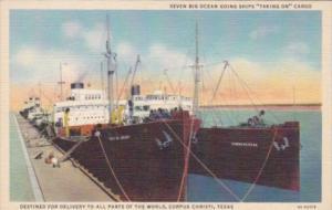 Texas Corpus Christi Seven Big Ocean Vessels Taking On Cargo Curteich