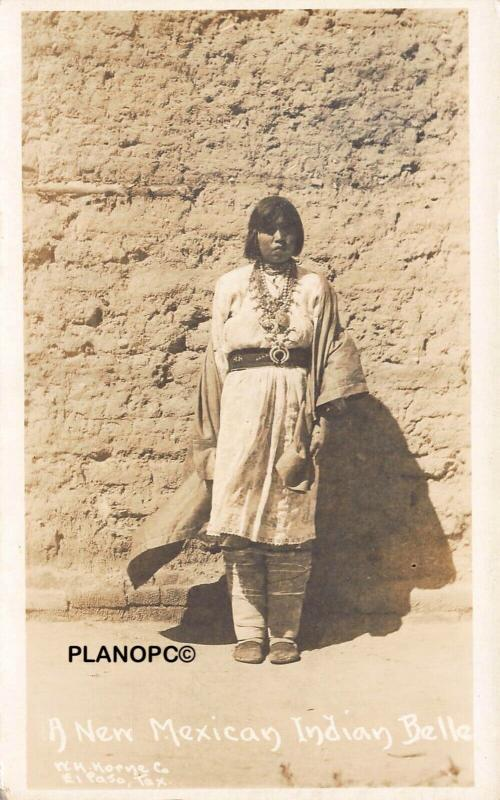 NEW MEXICAN INDIAN BELLE-EARLY 1900'S RPPC REAL PHOTO POSTCARD