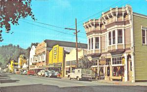 Ferndale CA Street View Vintage Store Fronts Old Trucks Postcard