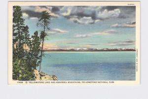 VINTAGE POSTCARD NATIONAL STATE PARK YELLOWSTONE LAKE AND ABSAROKA MOUNTAINS