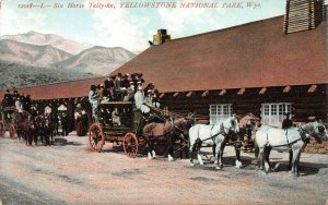 Six Horse Tally-Ho, Yellowstone National Park, Wyoming, early postcard, unused
