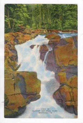 Glacier National Park, Waterfall, Montana, 30-40s