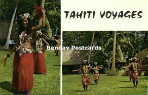 french polynesia, Double View with Dancing Girls (1960s)