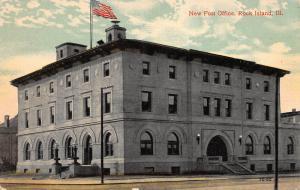 New Post Office, Rock Island, Illinois, early postcard, unused