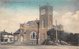 Madison South Dakota~Methodist Church~House Next Door~1909 Handcolored PC