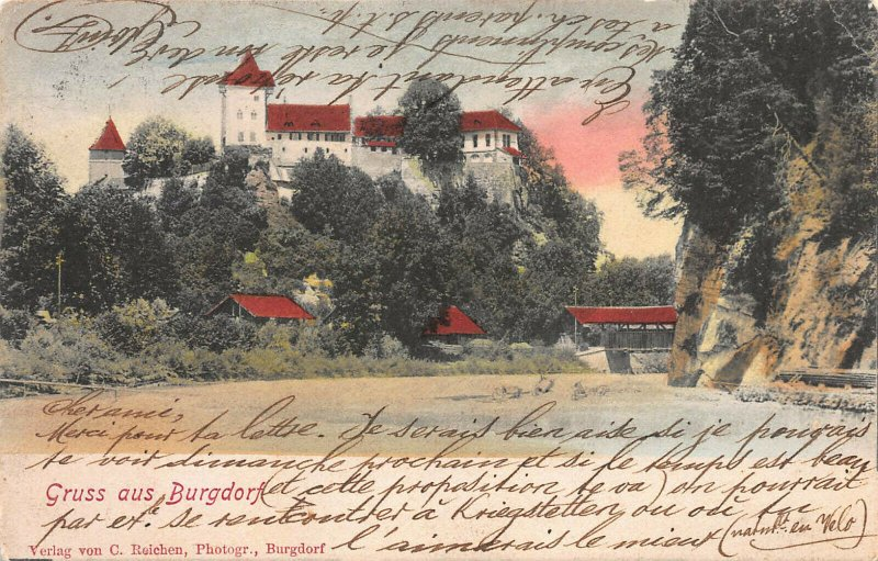 Greetings from Burgdorf, Germany, Hand Colored Postcard, Used in 1902