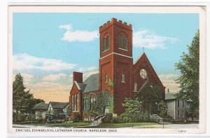 Emanuel Ev Lutheran Church Napoleon Ohio postcard