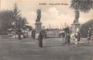 Egypt Cairo - Kasr-el-Nil Bridge, Lion Statues, Tram, Natives, Camel