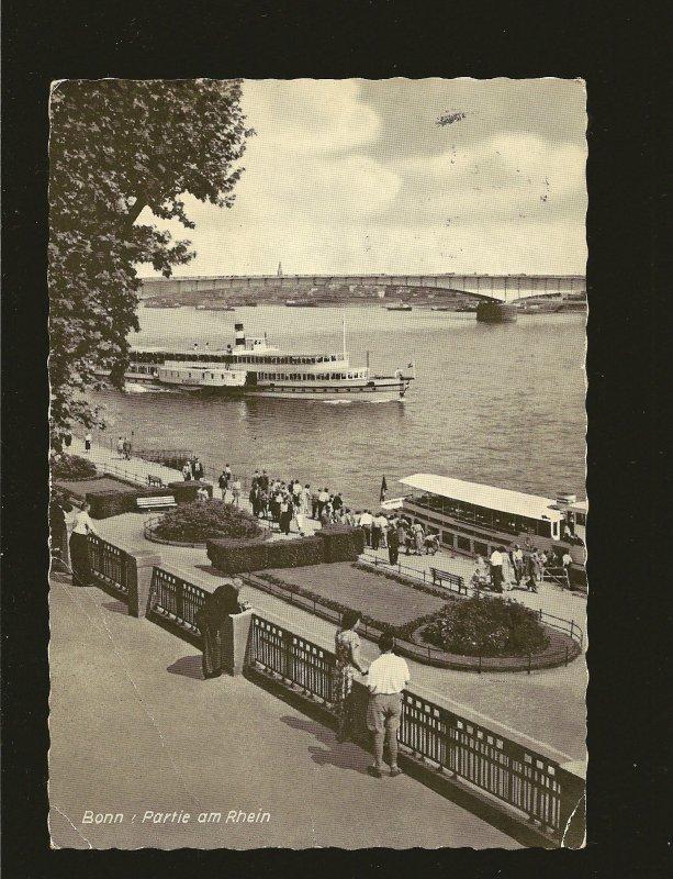 Postmark 1964 Bonn Germany Partie am Rhein Real Photo Postcard