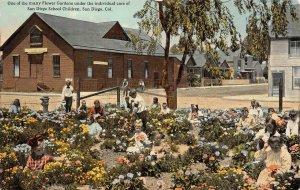 Flower Garden Under Care of San Diego School Children California c1910s Postcard