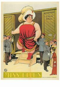 Miss Ellen Giantess Fat Lady Sideshow Freak Modern Postcard