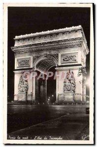 Old Postcard Paris at night Arc de Triomphe