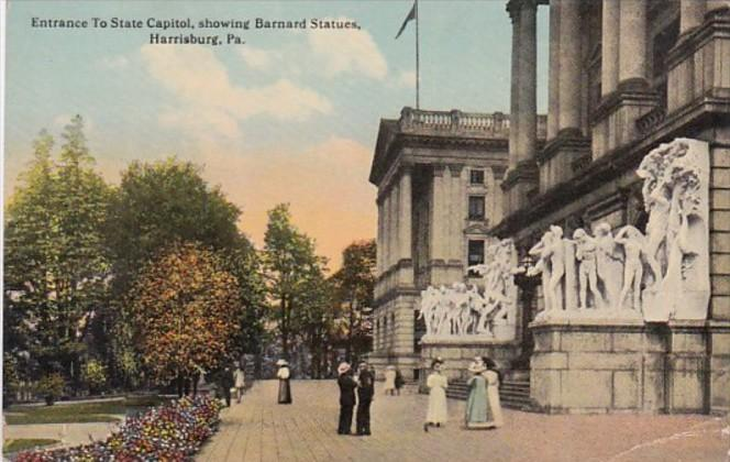 Pennsylvania Harrisburg Entrance To State Capitol Showing Barnard Statues 1914
