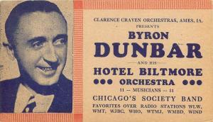 Byron Dunbar Hotel Biltmore Chicago Illinois pm 1936 Dance Manager Corr Postcard