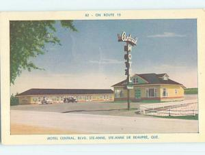 Unused Pre-1980 CENTRAL MOTEL Ste-Anne De Beaupre Quebec QC o0241